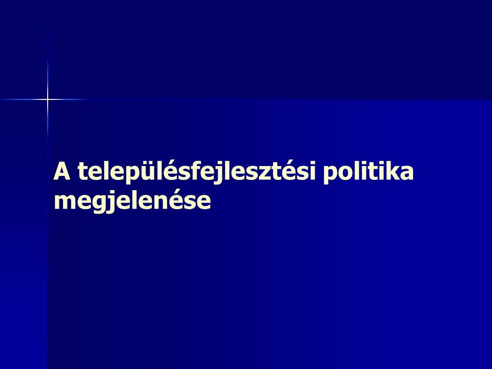 2323 1971-es Országos Településhálózat-fejlesztési koncepció, OTK 130 településre fordította a figyelmet 130 településre fordította a figyelmet –Többit megyei településhálózati kerettervek hatáskörébe utalta Hierarchikus, merev rend Hierarchikus, merev rend –Élen a főváros (növekedési ütem mérséklése, ipar szelektív fejlesztése) –5 vidéki nagyváros (Győr, Miskolc, Debrecen, Szeged, Pécs) –Megyeszékhelyek Szigorú alap az anyagi javak elosztásában, különböző funkciók területi rendszerének kiépítésében Szigorú alap az anyagi javak elosztásában, különböző funkciók területi rendszerének kiépítésében Besorolásban egyetemesség elve Besorolásban egyetemesség elve –Kategorizálás minden térségben azonos elvek alapján –Tekintet nélkül a helyi, táji adottságokra