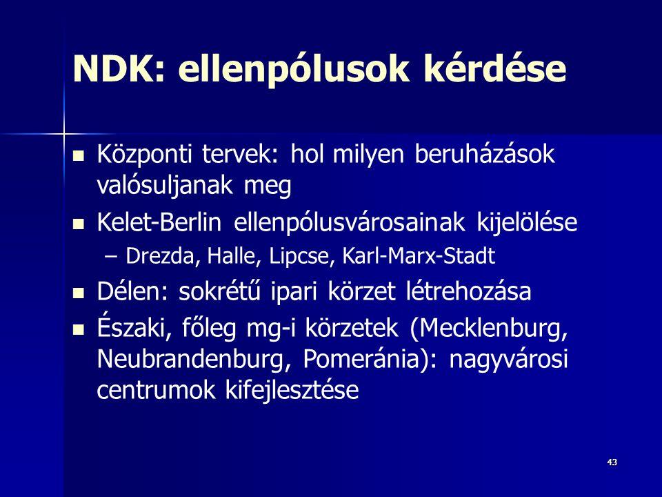 4343 NDK: ellenpólusok kérdése Központi tervek: hol milyen beruházások valósuljanak meg Kelet-Berlin ellenpólusvárosainak kijelölése –Drezda, Halle, Lipcse, Karl-Marx-Stadt Délen: sokrétű ipari körzet létrehozása Északi, főleg mg-i körzetek (Mecklenburg, Neubrandenburg, Pomeránia): nagyvárosi centrumok kifejlesztése