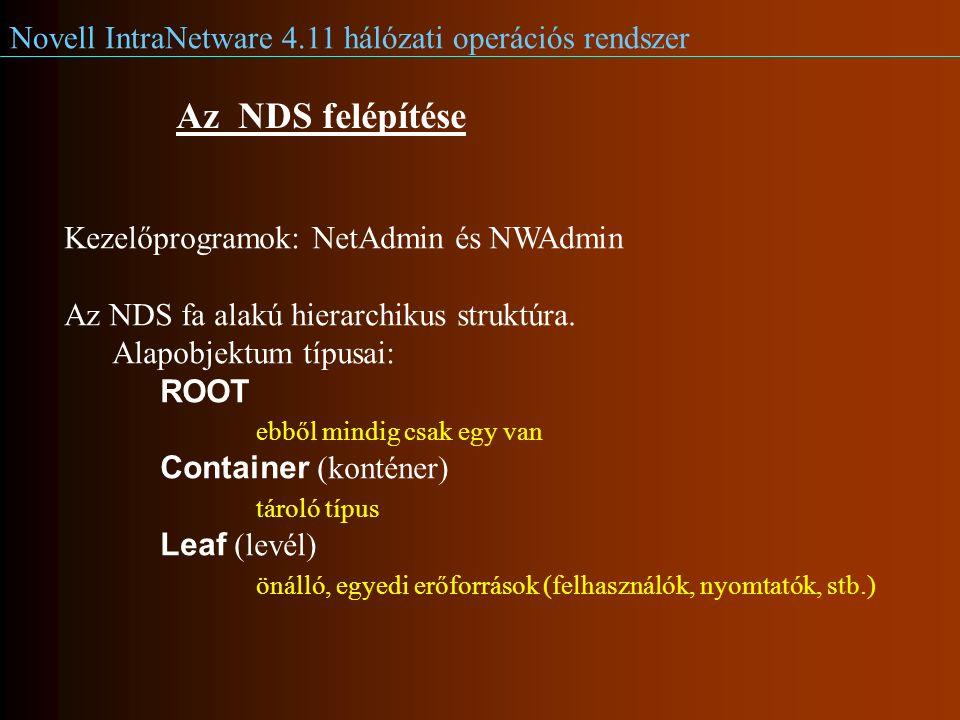 Novell IntraNetware 4.11 hálózati operációs rendszer Az NDS felépítése Kezelőprogramok: NetAdmin és NWAdmin Az NDS fa alakú hierarchikus struktúra.