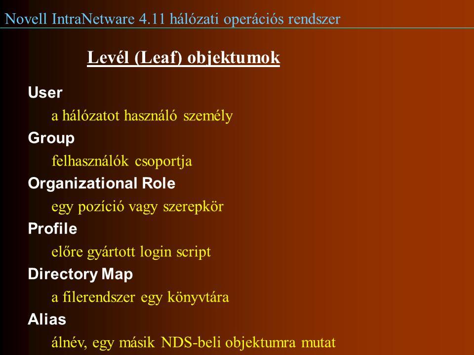 Novell IntraNetware 4.11 hálózati operációs rendszer Levél (Leaf) objektumok User a hálózatot használó személy Group felhasználók csoportja Organizational Role egy pozíció vagy szerepkör Profile előre gyártott login script Directory Map a filerendszer egy könyvtára Alias álnév, egy másik NDS-beli objektumra mutat