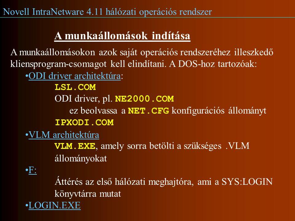 Novell IntraNetware 4.11 hálózati operációs rendszer A munkaállomások indítása A munkaállomásokon azok saját operációs rendszeréhez illeszkedő kliensprogram-csomagot kell elindítani.