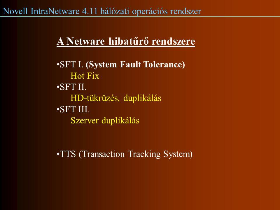 Novell IntraNetware 4.11 hálózati operációs rendszer A Netware hibatűrő rendszere SFT I.