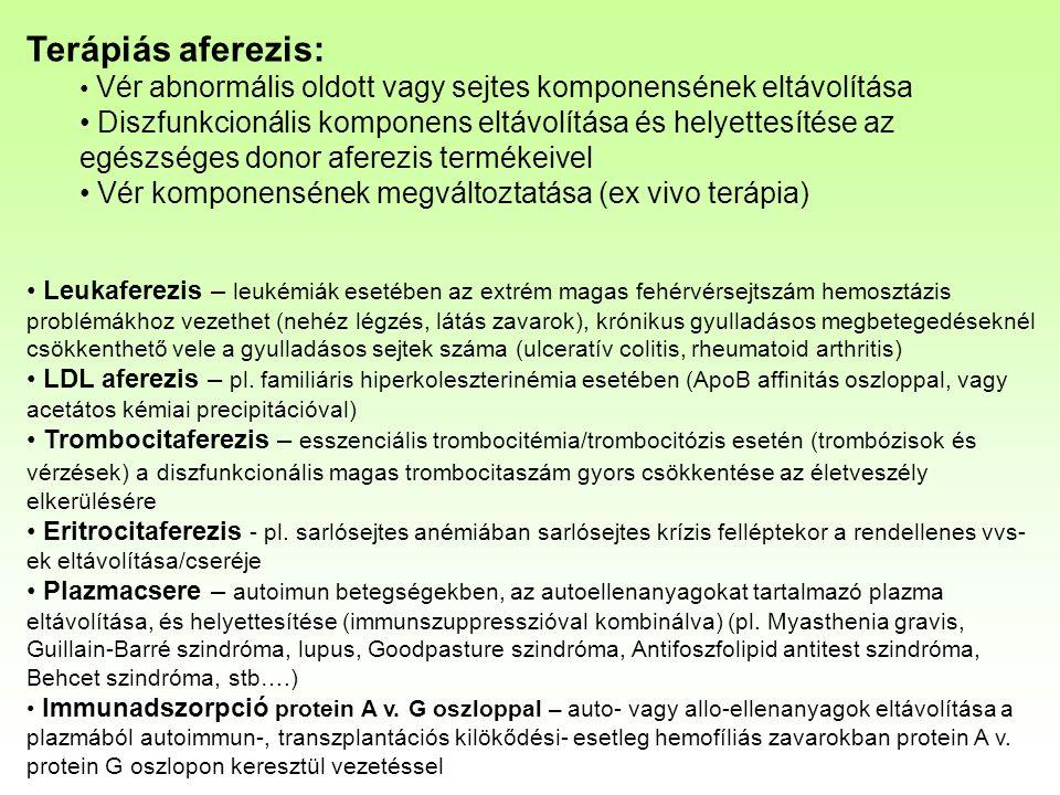 Terápiás aferezis: Vér abnormális oldott vagy sejtes komponensének eltávolítása Diszfunkcionális komponens eltávolítása és helyettesítése az egészséges donor aferezis termékeivel Vér komponensének megváltoztatása (ex vivo terápia) Leukaferezis – leukémiák esetében az extrém magas fehérvérsejtszám hemosztázis problémákhoz vezethet (nehéz légzés, látás zavarok), krónikus gyulladásos megbetegedéseknél csökkenthető vele a gyulladásos sejtek száma (ulceratív colitis, rheumatoid arthritis) LDL aferezis – pl.