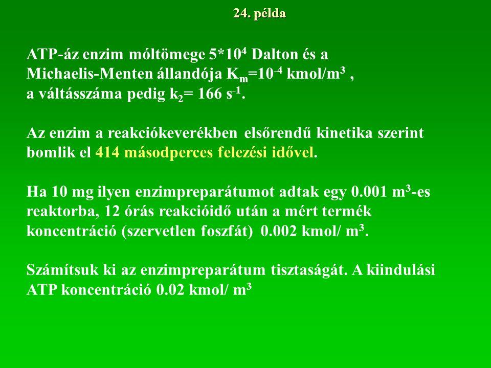 24. példa ATP-áz enzim móltömege 5*10 4 Dalton és a Michaelis-Menten állandója K m =10 -4 kmol/m 3, a váltásszáma pedig k 2 = 166 s -1. Az enzim a rea