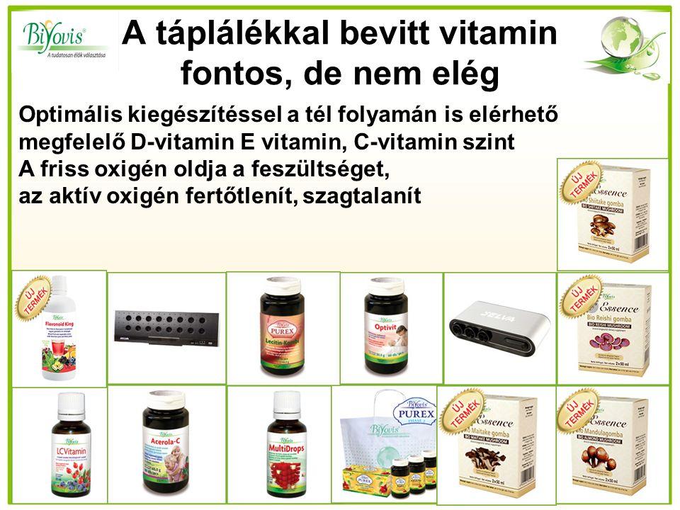 A táplálékkal bevitt vitamin fontos, de nem elég Optimális kiegészítéssel a tél folyamán is elérhető megfelelő D-vitamin E vitamin, C-vitamin szint A friss oxigén oldja a feszültséget, az aktív oxigén fertőtlenít, szagtalanít