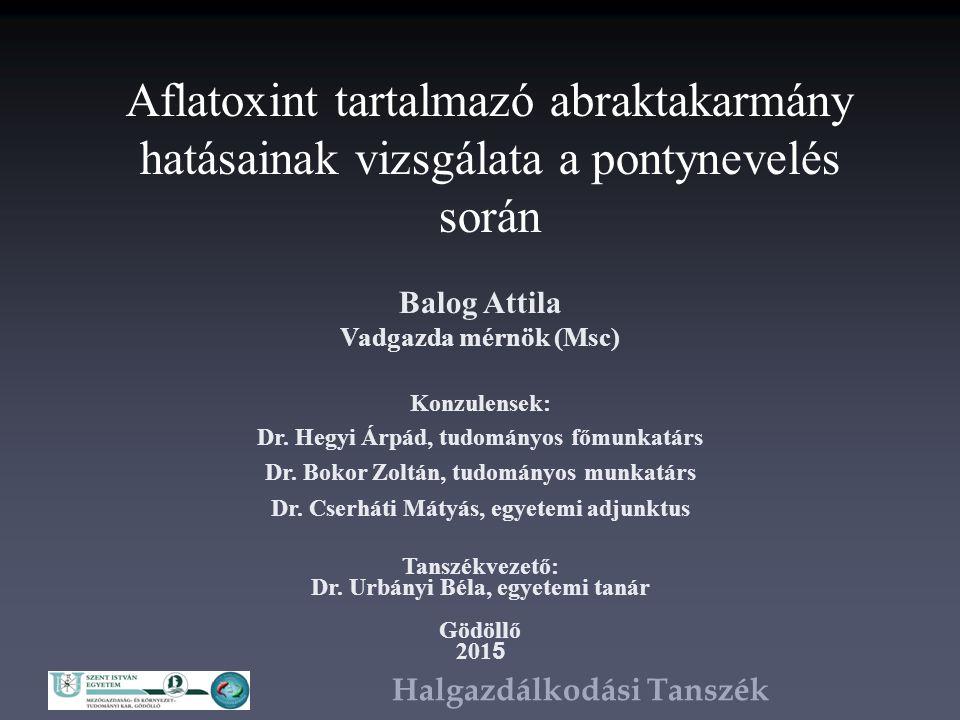Halgazdálkodási Tanszék Bevezetés Magyarországi haltenyésztés legfontosabb halfaja a ponty – Humán táplálkozás szempontjából halhús az egyik legkedvezőbb tulajdonsággal és összetétellel bíró húsféleség – Haltakarmányozás gabona alapú, melyek jelentősen érintettek mikotoxin szennyezettséggel