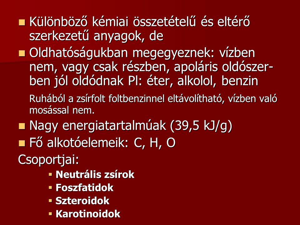 Különböző kémiai összetételű és eltérő szerkezetű anyagok, de Különböző kémiai összetételű és eltérő szerkezetű anyagok, de Oldhatóságukban megegyeznek: vízben nem, vagy csak részben, apoláris oldószer- ben jól oldódnak Pl: éter, alkolol, benzin Oldhatóságukban megegyeznek: vízben nem, vagy csak részben, apoláris oldószer- ben jól oldódnak Pl: éter, alkolol, benzin Ruhából a zsírfolt foltbenzinnel eltávolítható, vízben való mosással nem.