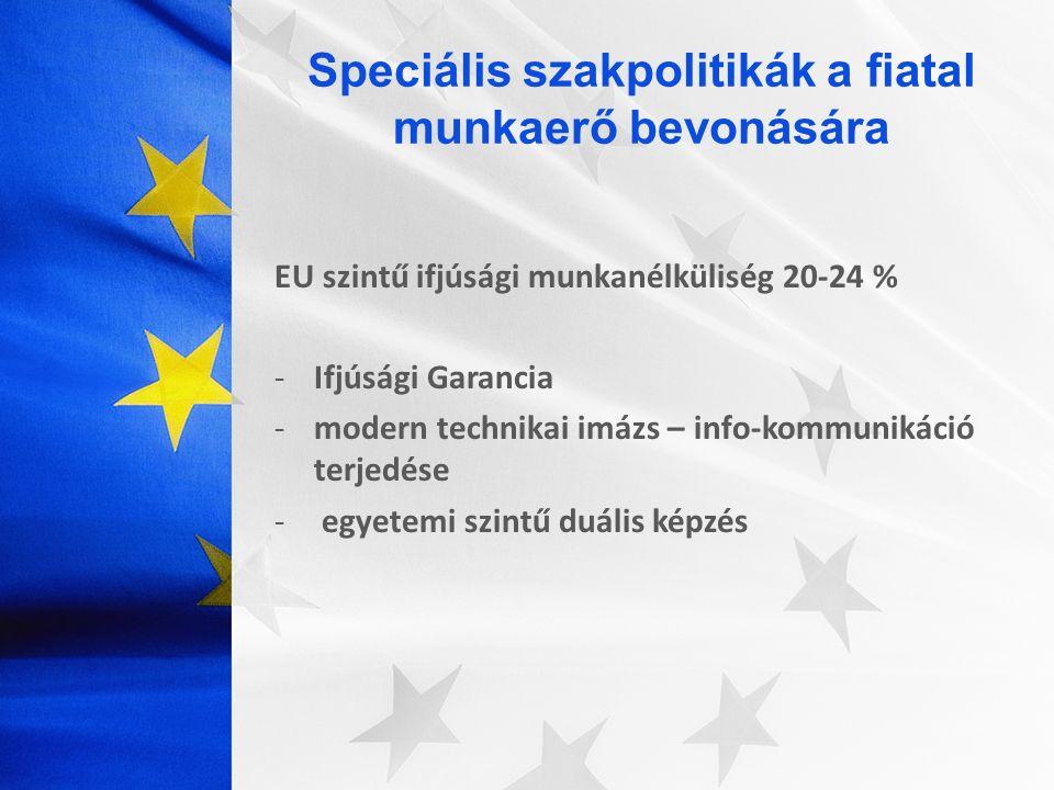 EU szintű ifjúsági munkanélküliség 20-24 % -Ifjúsági Garancia -modern technikai imázs – info-kommunikáció terjedése - egyetemi szintű duális képzés
