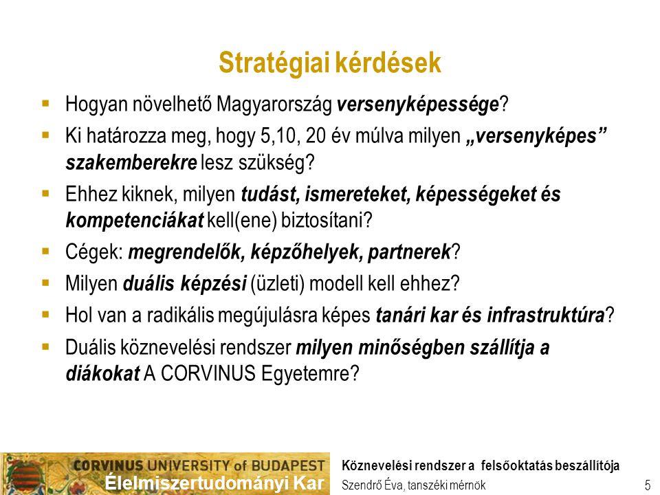Élelmiszertudományi Kar Szendrő Éva, tanszéki mérnök Köznevelési rendszer a felsőoktatás beszállítója 5 Stratégiai kérdések  Hogyan növelhető Magyarország versenyképessége .