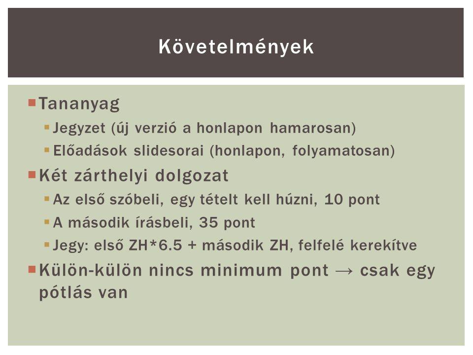  Tananyag  Jegyzet (új verzió a honlapon hamarosan)  Előadások slidesorai (honlapon, folyamatosan)  Két zárthelyi dolgozat  Az első szóbeli, egy tételt kell húzni, 10 pont  A második írásbeli, 35 pont  Jegy: első ZH*6.5 + második ZH, felfelé kerekítve  Külön-külön nincs minimum pont → csak egy pótlás van Követelmények