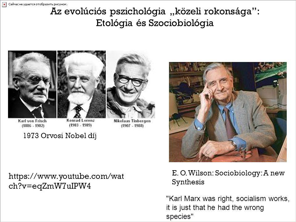 """Az evolúciós pszichológia """"közeli rokonsága : Etológia és Szociobiológia 1973 Orvosi Nobel díj E."""