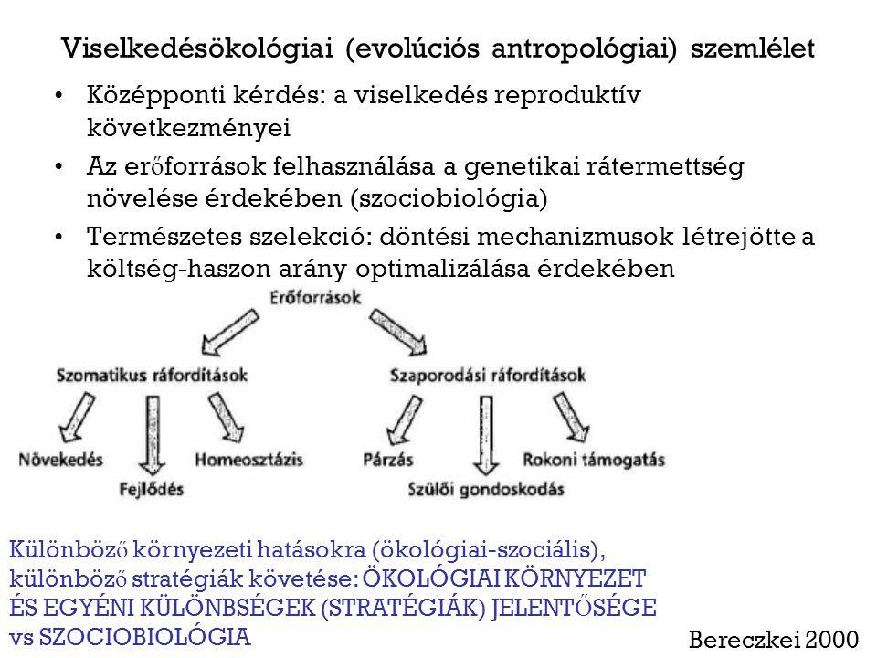 Viselkedésökológiai (evolúciós antropológiai) szemlélet Középponti kérdés: a viselkedés reproduktív következményei Az er ő források felhasználása a genetikai rátermettség növelése érdekében (szociobiológia) Természetes szelekció: döntési mechanizmusok létrejötte a költség-haszon arány optimalizálása érdekében Bereczkei 2000 Különböz ő környezeti hatásokra (ökológiai-szociális), különböz ő stratégiák követése: ÖKOLÓGIAI KÖRNYEZET ÉS EGYÉNI KÜLÖNBSÉGEK (STRATÉGIÁK) JELENT Ő SÉGE vs SZOCIOBIOLÓGIA