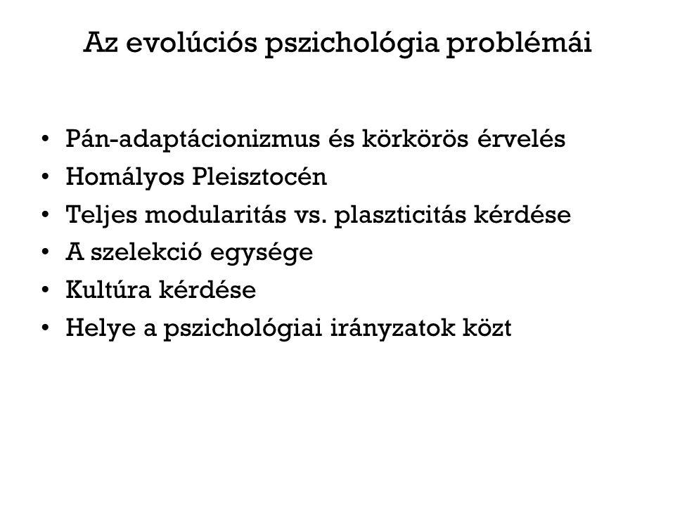 Az evolúciós pszichológia problémái Pán-adaptácionizmus és körkörös érvelés Homályos Pleisztocén Teljes modularitás vs.