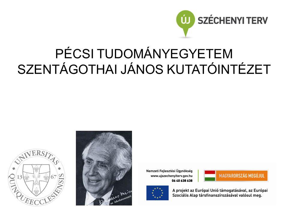 Publikációs aktivitás –2013: 100 közlemény –2014: 121 közlemény Projektek: –Nemzetközi projektek: 2 millió euró –TÁMOP projektek: 16 millió euró 4 PTE-MTA kutatócsoport Kutatási aktivitás számokban