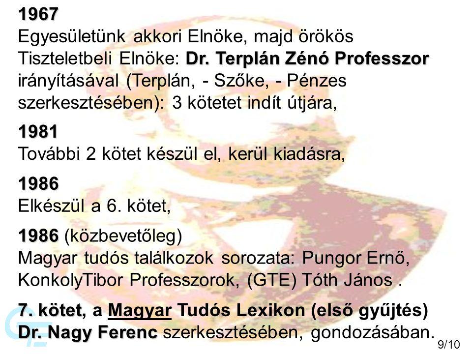 1967 Egyesületünk akkori Elnöke, majd örökös Dr. Terplán Zénó Professzor Tiszteletbeli Elnöke: Dr.