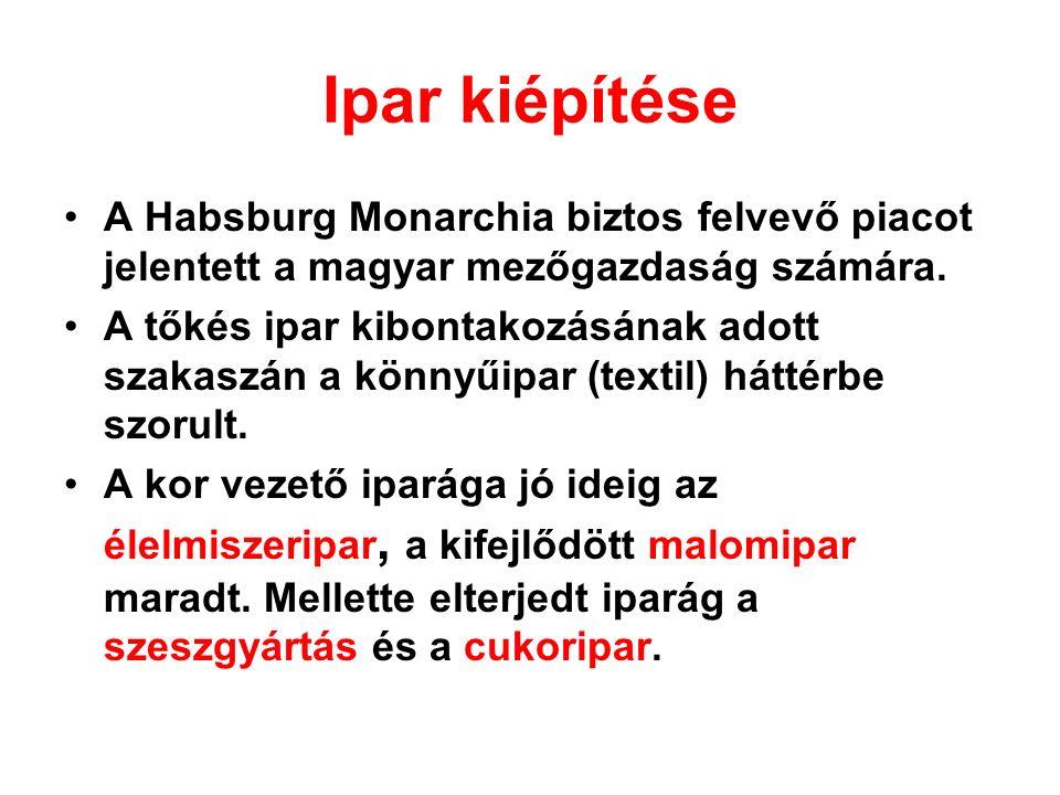 Ipar kiépítése A Habsburg Monarchia biztos felvevő piacot jelentett a magyar mezőgazdaság számára.