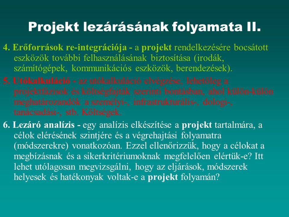 Projekt lezárásának folyamata II. 4. Erőforrások re-integrációja - a projekt rendelkezésére bocsátott eszközök további felhasználásának biztosítása (i