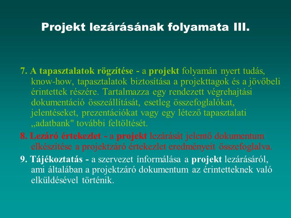 Projekt lezárásának folyamata III. 7. A tapasztalatok rögzítése - a projekt folyamán nyert tudás, know-how, tapasztalatok biztosítása a projekttagok é