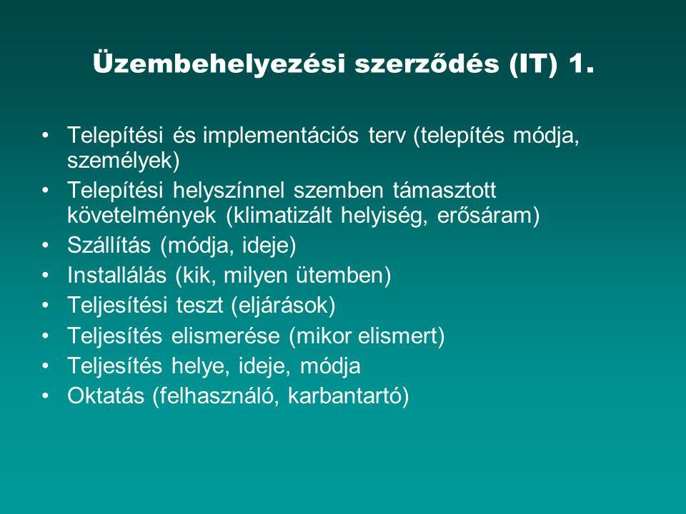 Üzembehelyezési szerződés (IT) 1. Telepítési és implementációs terv (telepítés módja, személyek) Telepítési helyszínnel szemben támasztott követelmény
