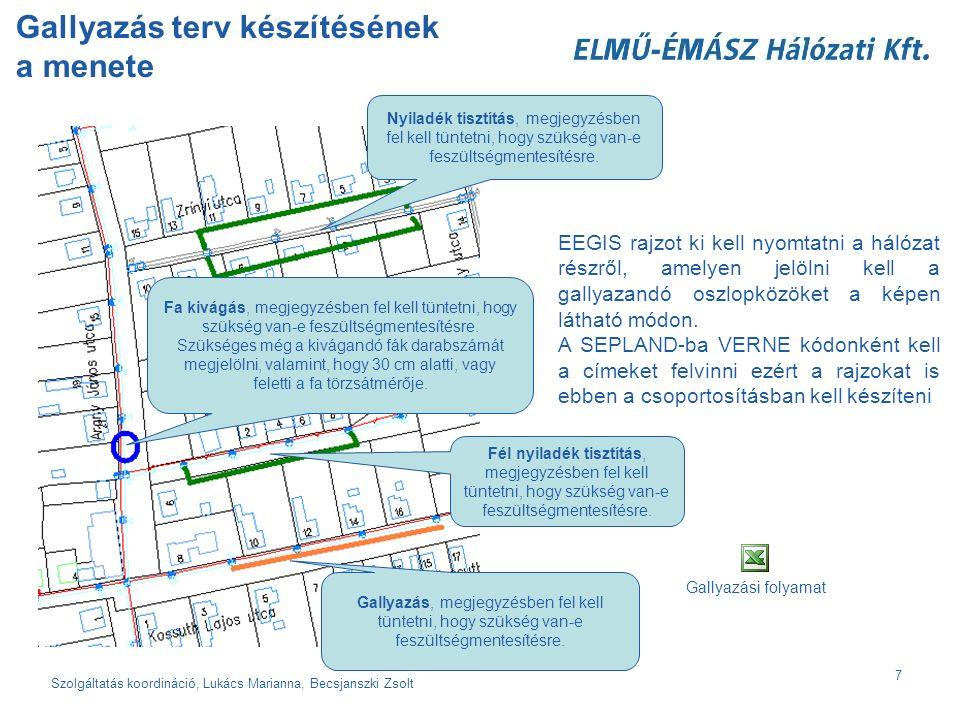Szolgáltatás koordináció, Lukács Marianna, Becsjanszki Zsolt 7 Gallyazás terv készítésének a menete EEGIS rajzot ki kell nyomtatni a hálózat részről, amelyen jelölni kell a gallyazandó oszlopközöket a képen látható módon.