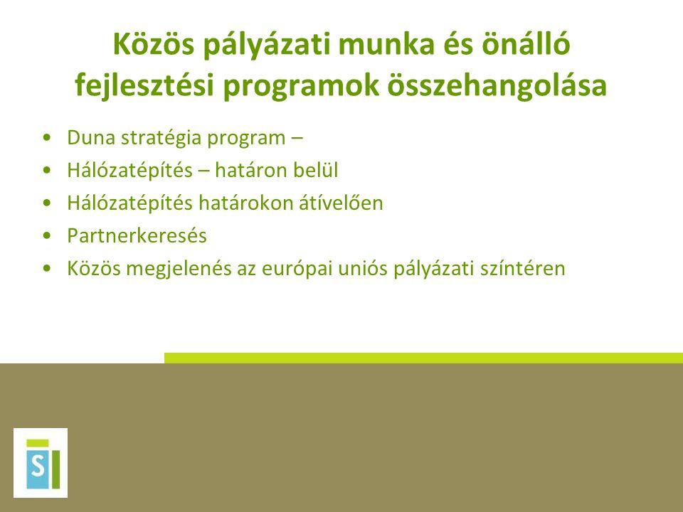 Közös pályázati munka és önálló fejlesztési programok összehangolása Duna stratégia program – Hálózatépítés – határon belül Hálózatépítés határokon átívelően Partnerkeresés Közös megjelenés az európai uniós pályázati színtéren