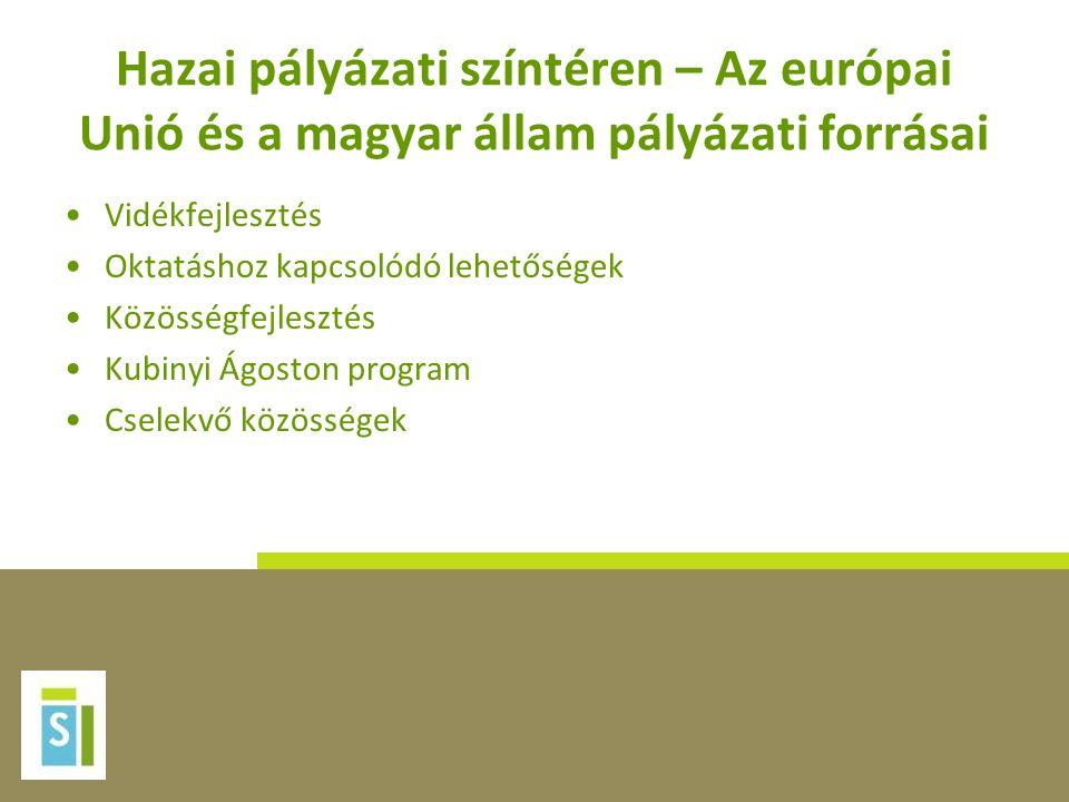 Hazai pályázati színtéren – Az európai Unió és a magyar állam pályázati forrásai Vidékfejlesztés Oktatáshoz kapcsolódó lehetőségek Közösségfejlesztés Kubinyi Ágoston program Cselekvő közösségek