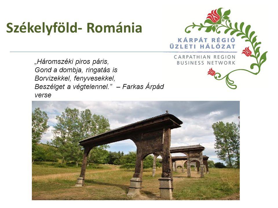 """Székelyföld- Románia """"Háromszéki piros páris, Gond a dombja, ringatás is Borvizekkel, fenyvesekkel, Beszélget a végtelennel."""" – Farkas Árpád verse"""
