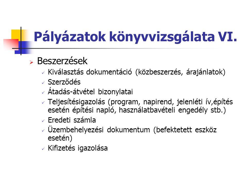 Pályázatok könyvvizsgálata VI.