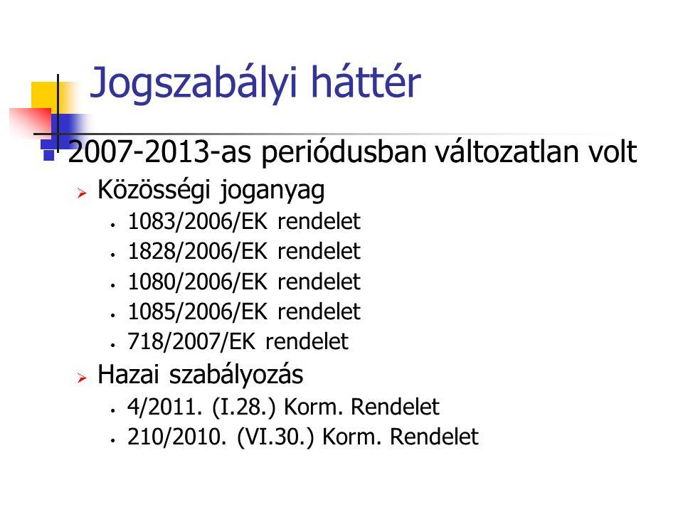 Jogszabályi háttér 2007-2013-as periódusban változatlan volt  Közösségi joganyag 1083/2006/EK rendelet 1828/2006/EK rendelet 1080/2006/EK rendelet 1085/2006/EK rendelet 718/2007/EK rendelet  Hazai szabályozás 4/2011.