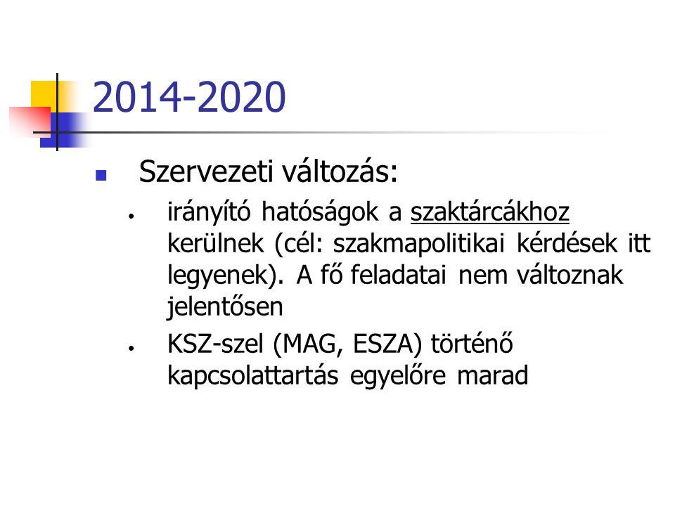 2014-2020 Szervezeti változás: irányító hatóságok a szaktárcákhoz kerülnek (cél: szakmapolitikai kérdések itt legyenek).