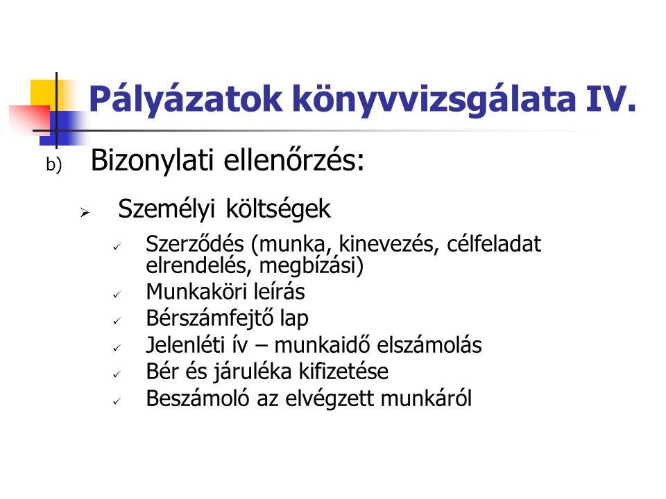 Pályázatok könyvvizsgálata IV.