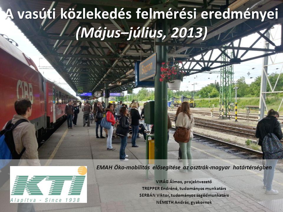 A vasúti közlekedés felmérési eredményei (Május–július, 2013) EMAH Öko-mobilitás elősegítése az osztrák-magyar határtérségben VIRÁG Álmos, projektvezető TREPPER Endréné, tudományos munkatárs SERBÁN Viktor, tudományos segédmunkatárs NÉMETH András, gyakornok