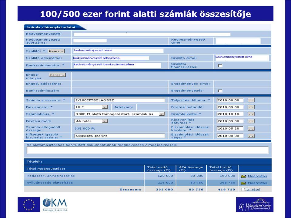 100/500 ezer forint alatti számlák összesítője