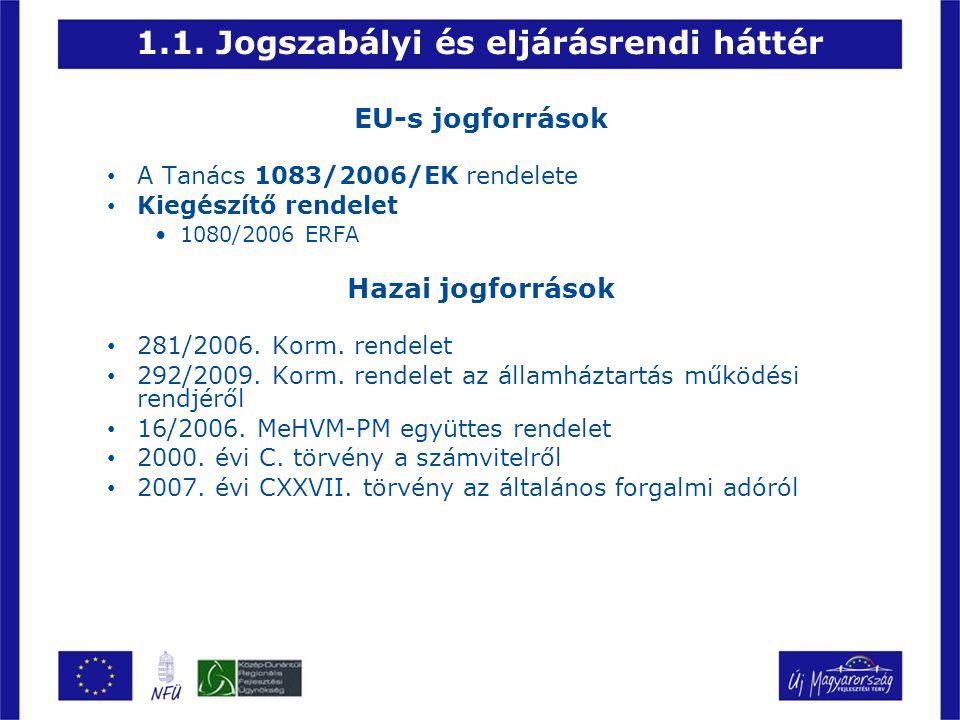 1.1. Jogszabályi és eljárásrendi háttér EU-s jogforrások A Tanács 1083/2006/EK rendelete Kiegészítő rendelet 1080/2006 ERFA Hazai jogforrások 281/2006