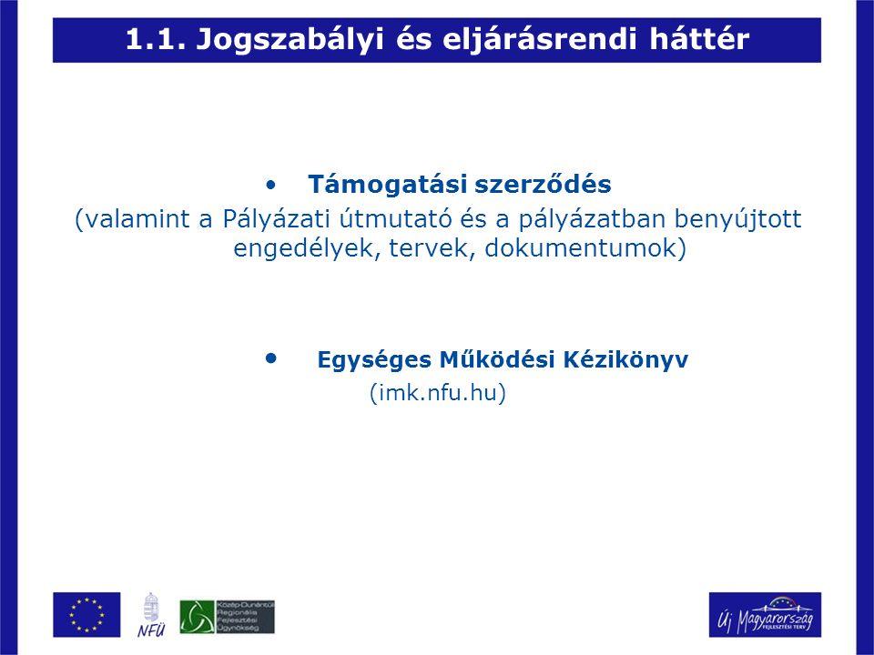 1.1. Jogszabályi és eljárásrendi háttér Támogatási szerződés (valamint a Pályázati útmutató és a pályázatban benyújtott engedélyek, tervek, dokumentum