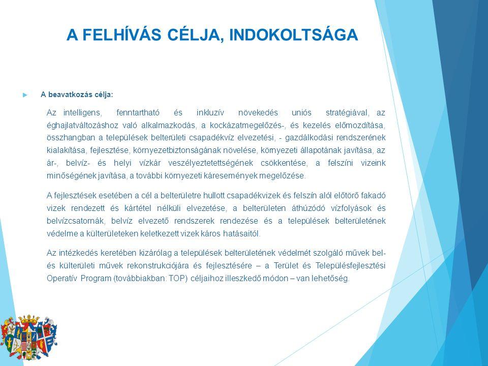 A FELHÍVÁS CÉLJA, INDOKOLTSÁGA  A beavatkozás célja: Az intelligens, fenntartható és inkluzív növekedés uniós stratégiával, az éghajlatváltozáshoz va