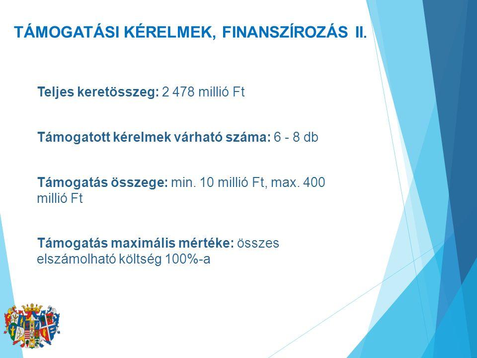TÁMOGATÁSI KÉRELMEK, FINANSZÍROZÁS II. Teljes keretösszeg: 2 478 millió Ft Támogatott kérelmek várható száma: 6 - 8 db Támogatás összege: min. 10 mill