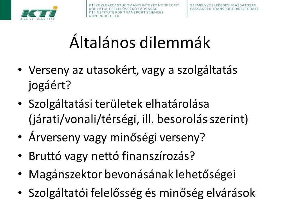 Magyar sajátosságok Nagyon alacsony szintű liberalizáció: gyakorlatilag minden személyszállítási szolgáltatás közszolgáltatás (vasút is) Jó idő- és térbeli lefedettség Jelentős infrastruktúra-pótló szerep Széles kedvezményrendszer Kimagasló modal split Magas jármű átlagéletkor Vasúti preferencia a személyszállításban is