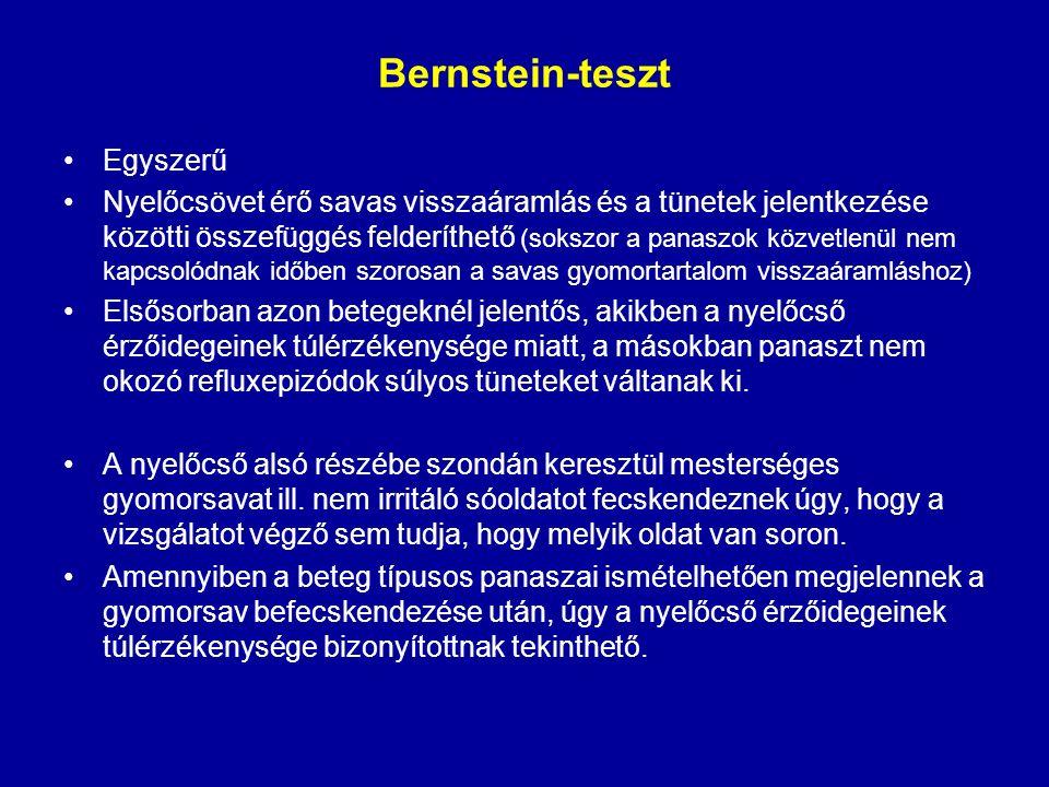 Bernstein-teszt Egyszerű Nyelőcsövet érő savas visszaáramlás és a tünetek jelentkezése közötti összefüggés felderíthető (sokszor a panaszok közvetlenü