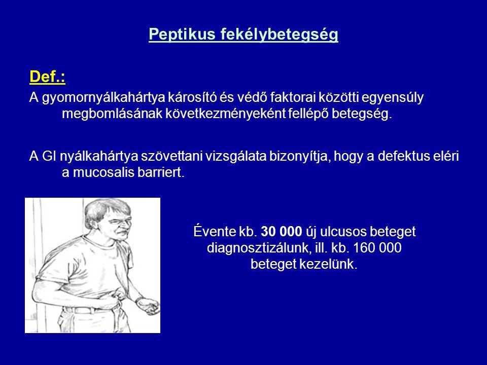 Peptikus fekélybetegség Def.: A gyomornyálkahártya károsító és védő faktorai közötti egyensúly megbomlásának következményeként fellépő betegség. A GI