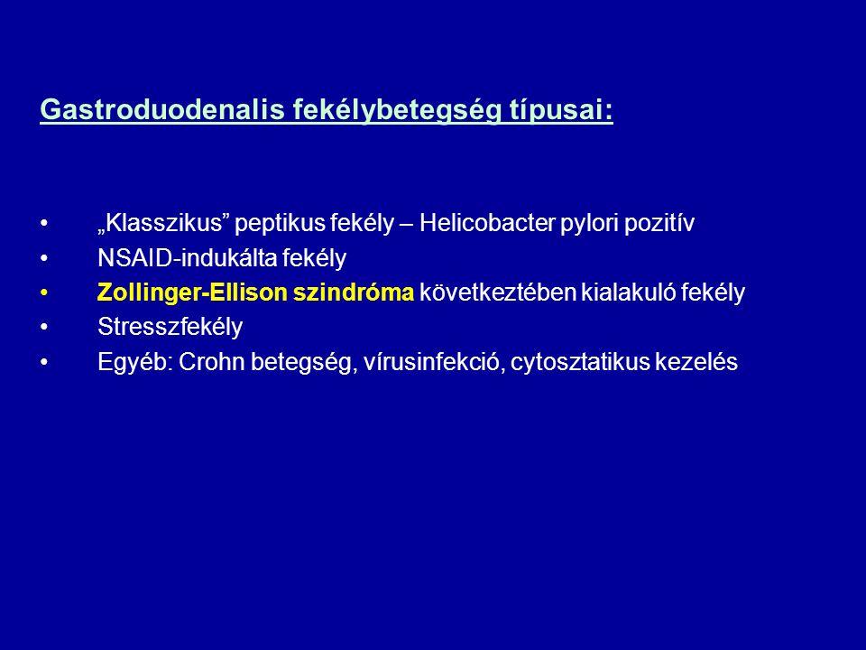 """Gastroduodenalis fekélybetegség típusai: """"Klasszikus"""" peptikus fekély – Helicobacter pylori pozitív NSAID-indukálta fekély Zollinger-Ellison szindróma"""