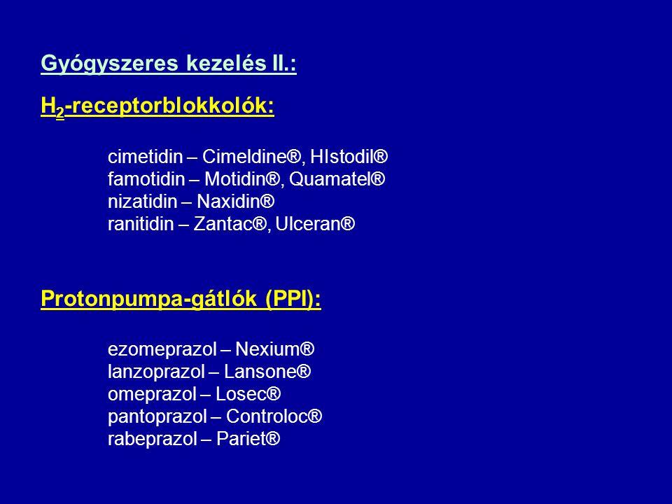 Gyógyszeres kezelés II.: H 2 -receptorblokkolók: cimetidin – Cimeldine®, HIstodil® famotidin – Motidin®, Quamatel® nizatidin – Naxidin® ranitidin – Za