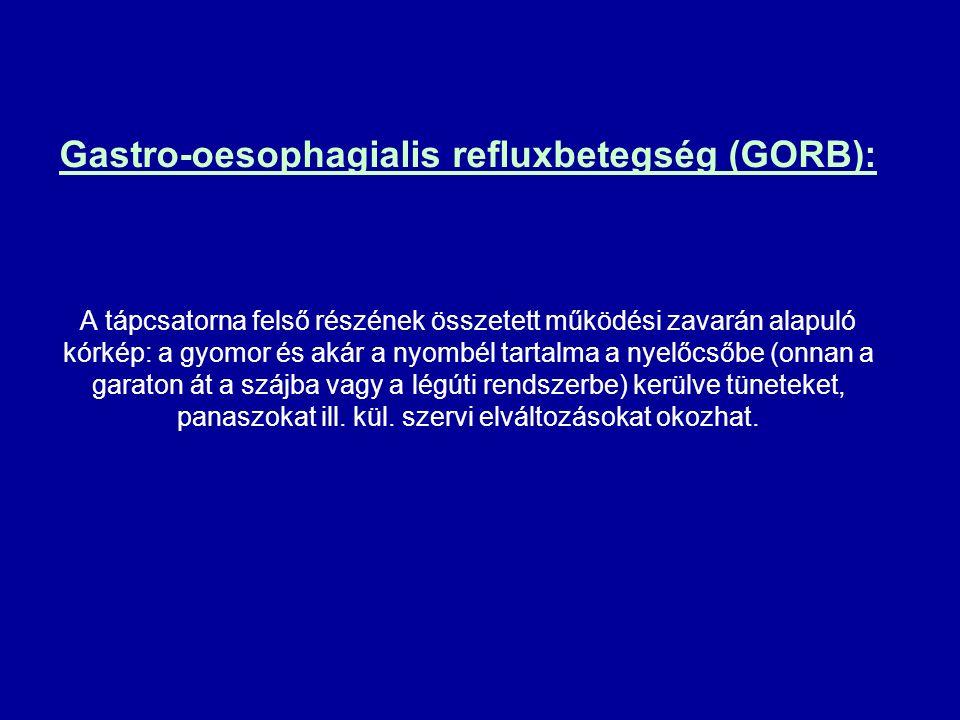 Gastro-oesophagialis refluxbetegség (GORB): A tápcsatorna felső részének összetett működési zavarán alapuló kórkép: a gyomor és akár a nyombél tartalm