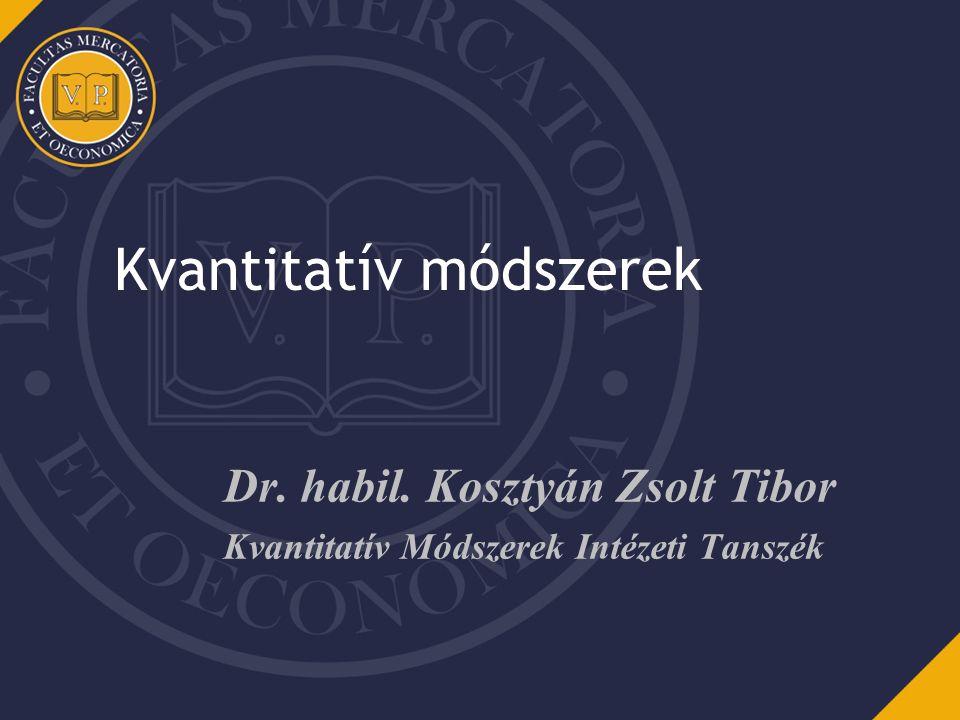 Kvantitatív módszerek Dr. habil. Kosztyán Zsolt Tibor Kvantitatív Módszerek Intézeti Tanszék