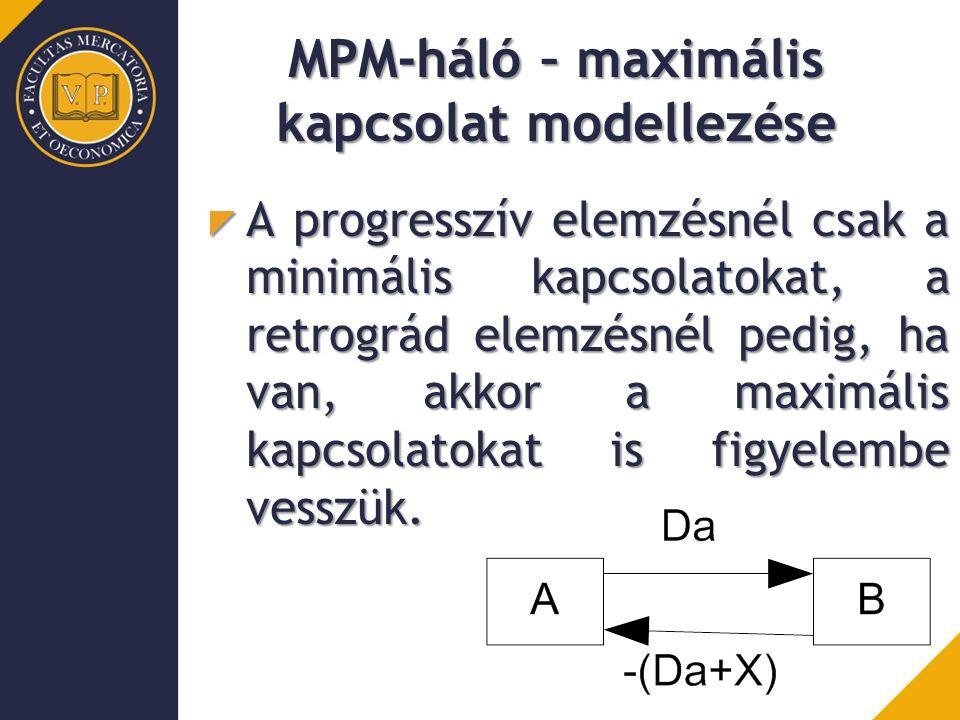MPM-háló – maximális kapcsolat modellezése A progresszív elemzésnél csak a minimális kapcsolatokat, a retrográd elemzésnél pedig, ha van, akkor a maximális kapcsolatokat is figyelembe vesszük.