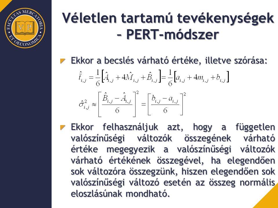 Véletlen tartamú tevékenységek – PERT-módszer Ekkor a becslés várható értéke, illetve szórása: Ekkor felhasználjuk azt, hogy a független valószínűségi változók összegének várható értéke megegyezik a valószínűségi változók várható értékének összegével, ha elegendően sok változóra összegzünk, hiszen elegendően sok valószínűségi változó esetén az összeg normális eloszlásúnak mondható.