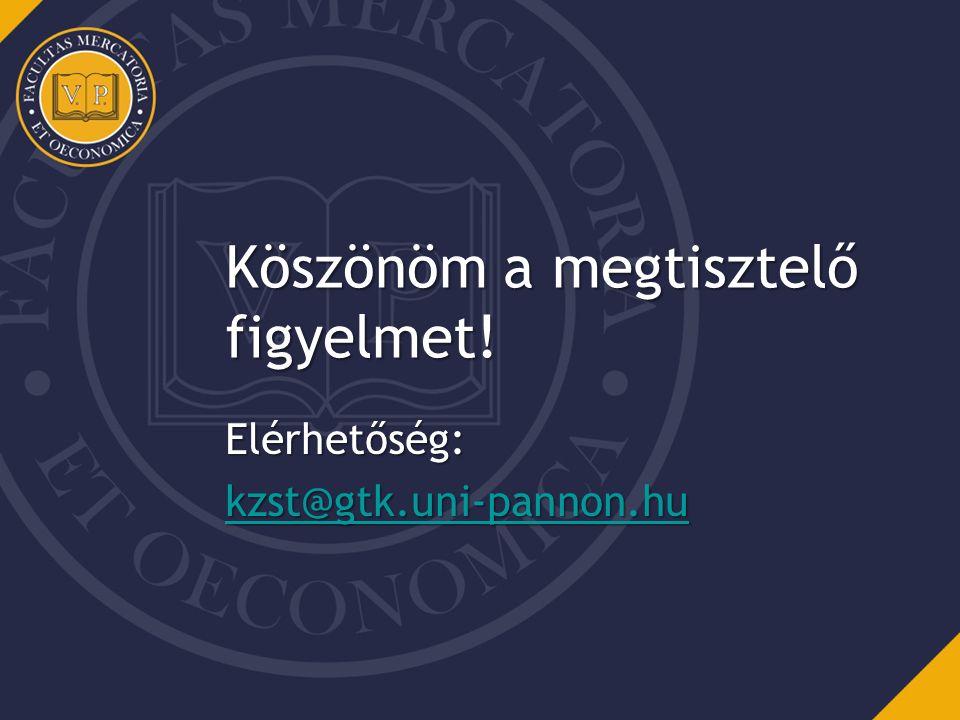 Köszönöm a megtisztelő figyelmet! Elérhetőség: kzst@gtk.uni-pannon.hu