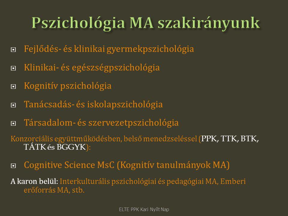  Fejlődés- és klinikai gyermekpszichológia  Klinikai- és egészségpszichológia  Kognitív pszichológia  Tanácsadás- és iskolapszichológia  Társadalom- és szervezetpszichológia Konzorciális együttműködésben, belső menedzseléssel ( PPK, TTK, BTK, TÁTK és BGGYK ):  Cognitive Science MsC (Kognitív tanulmányok MA) A karon belül: Interkulturális pszichológiai és pedagógiai MA, Emberi erőforrás MA, stb.