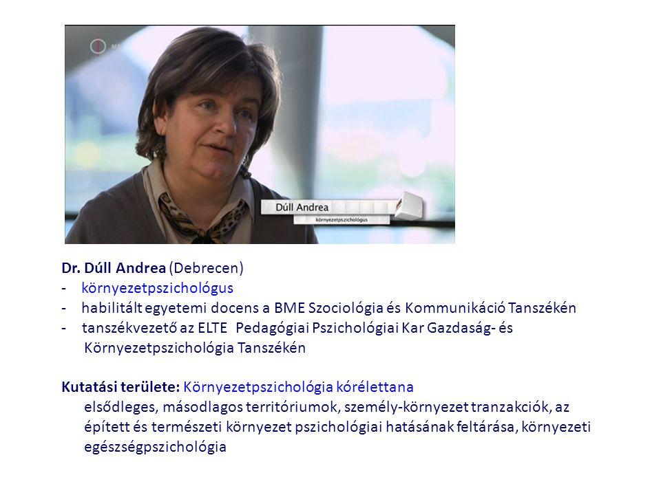 Dr. Dúll Andrea (Debrecen) - környezetpszichológus - habilitált egyetemi docens a BME Szociológia és Kommunikáció Tanszékén -tanszékvezető az ELTE Ped