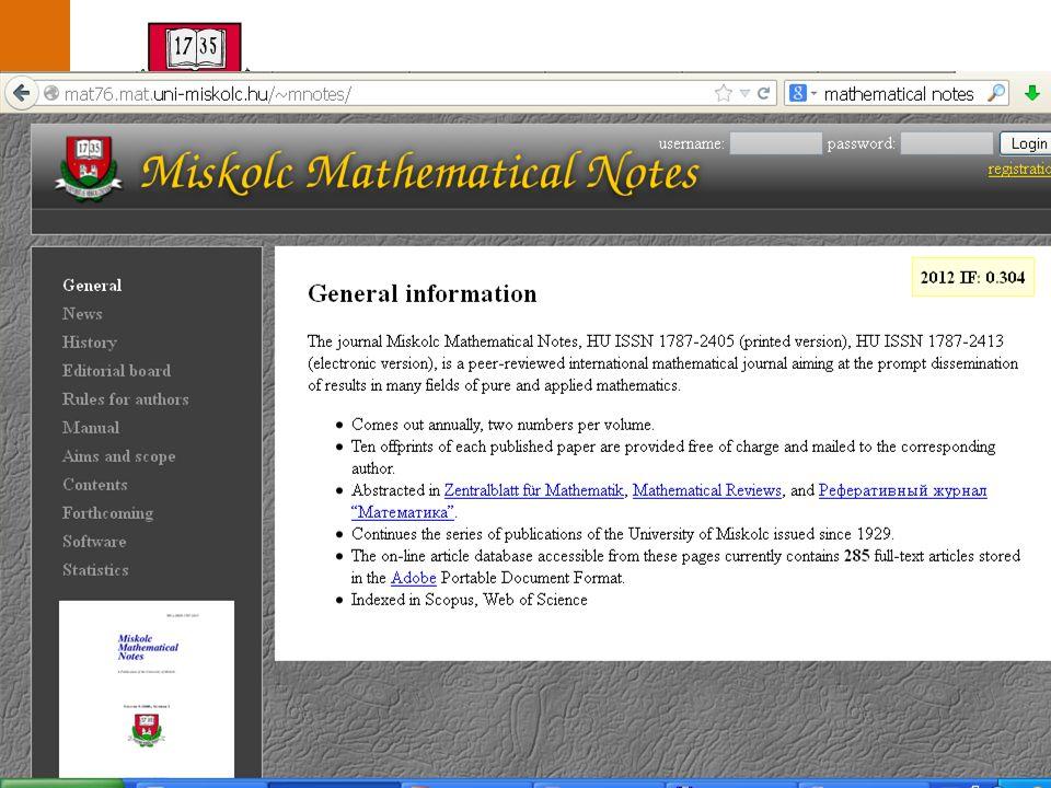 Miskolci Egyetem közleményei  Saját honlap Miskolci Egyetem